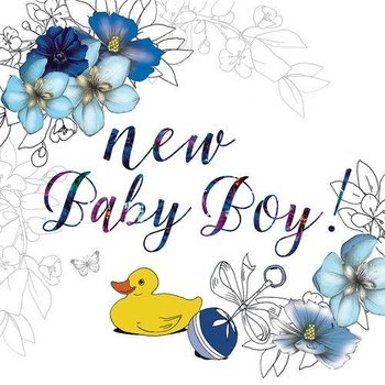 Karnet okolicznościowy, kwadrat, Swarovski, narodziny chłopiec kwiaty