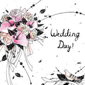 Karnet okolicznościowy, kwadrat, Swarovski, ślub kwiaty
