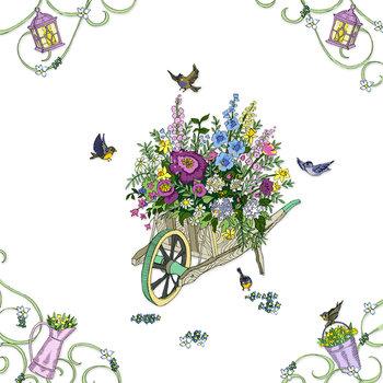 Karnet okolicznościowy, kwadrat, Swarovski, taczka z kwiatami