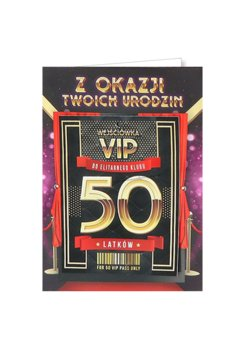 Karnet okolicznościowy na 50 urodziny dla kobiety, VIP 8-yeku