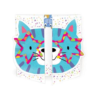 Karnet okolicznościowy, rozkładany, kot
