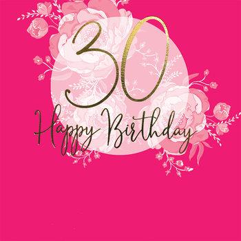 Karnet okolicznościowy, Swarovski, 30 urodziny, różowy