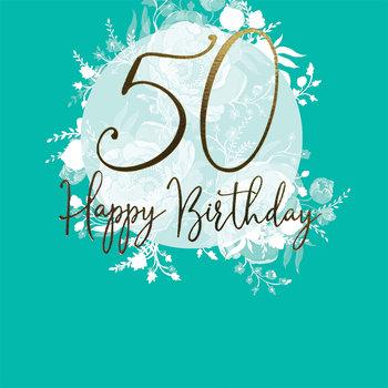 Karnet okolicznościowy, Swarovski, 50 urodziny, turkusowy