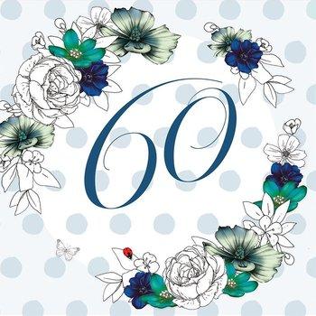 Karnet okolicznościowy Swarovski, 60 urodziny, kwiaty-Clear Creations