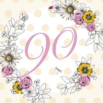 Karnet okolicznościowy Swarovski, 90 urodziny, kwiaty-Clear Creations