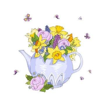 Karnet okolicznościowy Swarovski, czajnik z kwiatami-Clear Creations