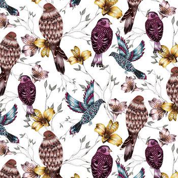 Karnet okolicznościowy Swarovski, etniczne kolorowe ptaki-Clear Creations