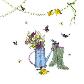 Karnet okolicznościowy Swarovski, konewka z kwiatami-Clear Creations