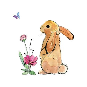 Karnet okolicznościowy Swarovski, królik, brązowy-Clear Creations