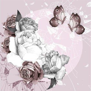 Karnet okolicznościowy, Swarovski, kwiaty i motyle