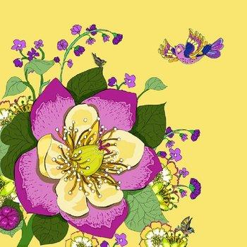 Karnet okolicznościowy Swarovski, kwiaty, żółty-Clear Creations