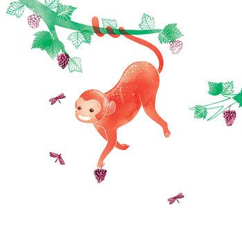 Karnet okolicznościowy Swarovski, małpka-Clear Creations