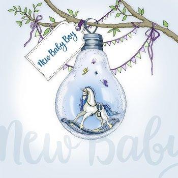 Karnet okolicznościowy Swarovski, narodziny chłopca, żarówka-Clear Creations