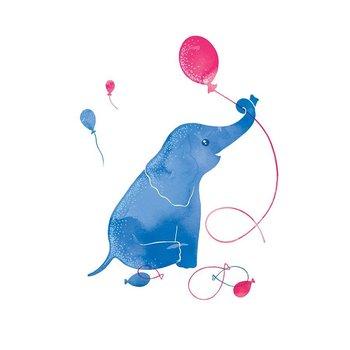 Karnet okolicznościowy Swarovski, niebieski słoń-Clear Creations