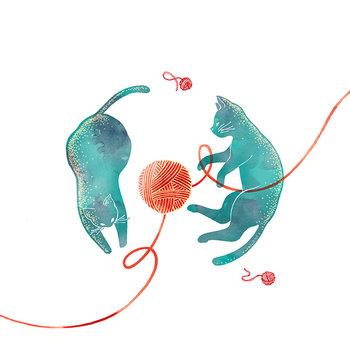 Karnet okolicznościowy Swarovski, niebieskie koty-Clear Creations