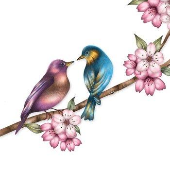 Karnet okolicznościowy Swarovski, ptaki na gałęzi-Clear Creations