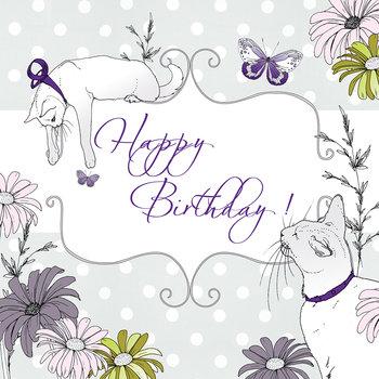 Karnet okolicznościowy Swarovski, Urodziny, Koty i motyl-Clear Creations