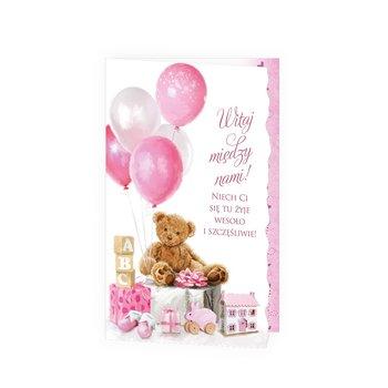Karnet okolicznościowy, urodziny, miś, różowy