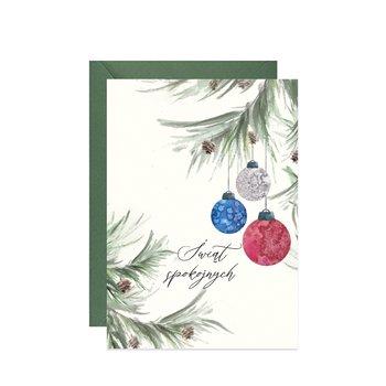 Karnet świąteczny z gałązkami choinki