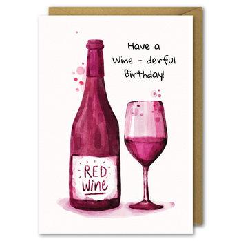 Karnet urodzinowy, B6, butelka wina