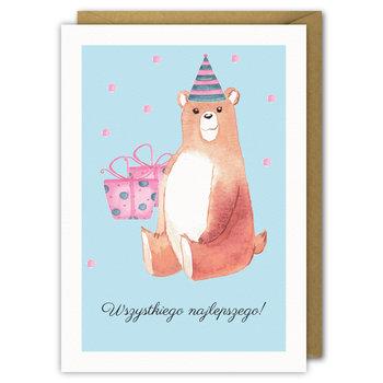 Karnet urodzinowy miś, wszystkiego najlepszego