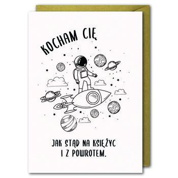 Karnet walentynkowy, B6, Kocham Cię jak stąd na Księżyc