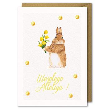 Karnet Wielkanocny, zając i tulipany