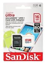 Karta pamięci SANDISK microSDHC Ultra, 16 GB, Class 10 + adapter SD