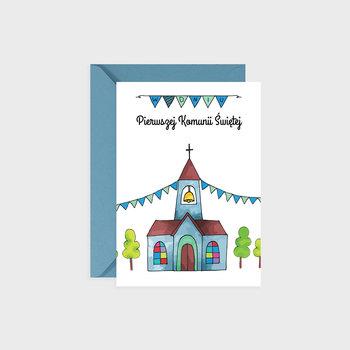 Kartka na komunię, Niebieski kościółek