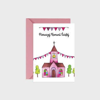 Kartka na komunię, Różowy kościółek