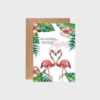 Kartka na ślub, Tropical flamingos