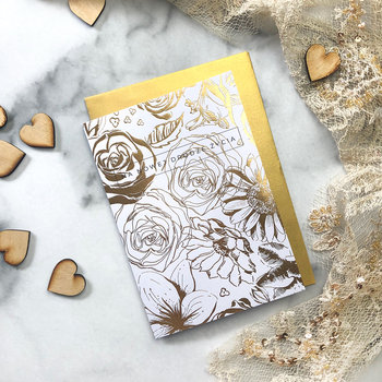 """Kartka ślubna """"Golden flowers"""""""