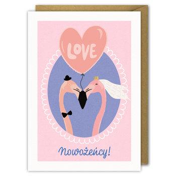 Kartka Ślubna, Nowożeńcy Flamingi!