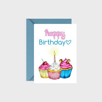 Kartka urodzinowa, Happy muffins, blue