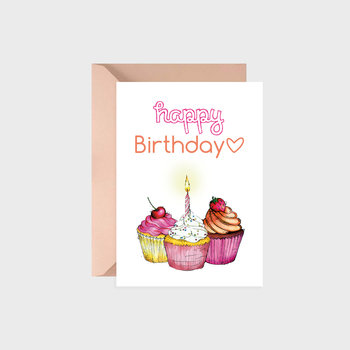 Kartka urodzinowa, Happy muffins, orange