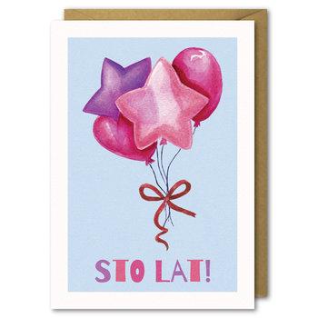 Kartka Urodzinowa Różowe Balony, Sto Lat B6