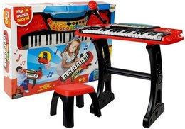 Keyboard ze Statywem Krzesełkiem 37 Klawiszy Czerwony