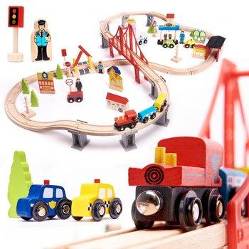 KIK, kolejna drewniana pociąg tory MDF + akcesoria 70el-KIK