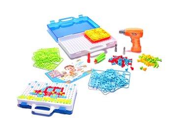 KIK, puzzle Klocki w walizce z wkrętarką -KIK