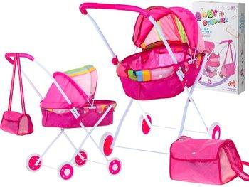 KIK, wózek dla lalek gondola z torbą różowy-KIK