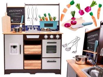 KIK, zabawka edukacyjna Kuchnia MDF z akcesoriami -KIK