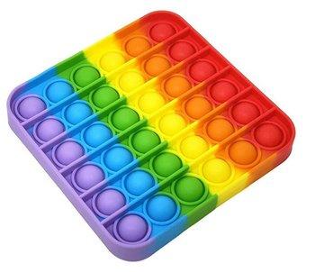 KIK, zabawka sensoryczna Push Bubble Pop Kwadrat Tęczowy-KIK