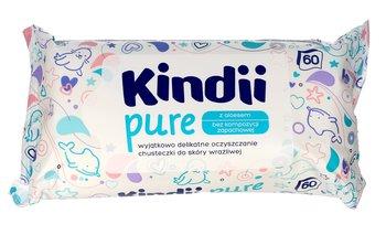 Kindii, Pure, Chusteczki oczyszczające dla niemowląt z aloesem, 60 szt.-Kindii