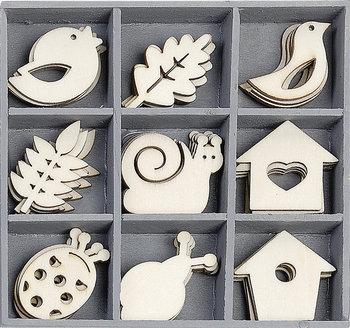 Knorr Prandell, drewniane ozdoby, Ptaki, liście, karmniki, 45 sztuk