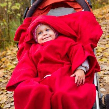 Kocyk zimowy Czerwony koc do wózka fotelika rękawy Baby Gadgets-Baby Gadgets
