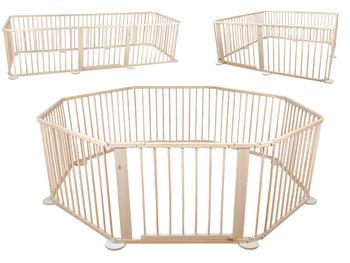 Kojec drewniany wielowariantowy składany ISO TRADE 1803, 8 paneli, beżowy-Malatec
