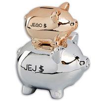 Kolekcja Ślubna, Skarbonka świnki, Jego $ i Jej $, złoto-srebrna