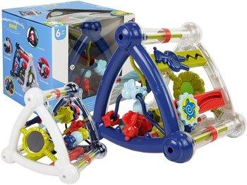 Kolorowa Kostka Edukacyjna Grzechotka Kształty Lusterko Dla Niemowląt Biało- Niebieska-Lean Toys