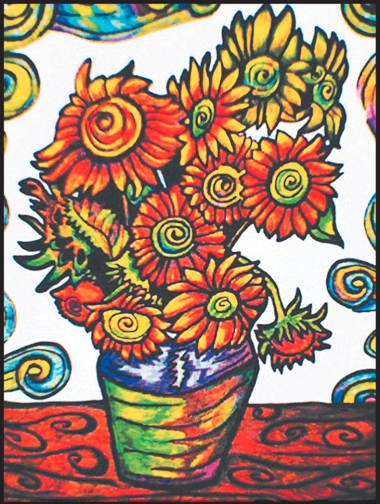 Kolorowanka Welwetowa Van Gogh Słoneczniki W Wazie