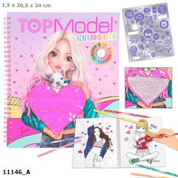 Kolorowanka z cekinami i naklejkami, TopModel 11146a-Depesche